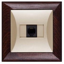Zásuvka Opus datová 1x RJ45 pro internet, wenge-písková