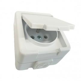 Venkovní zásuvka Jantar ZA-16 IP44 na omítku bílá