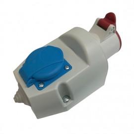 Venkovní zásuvka IZVZ 1643 pro napětí 380 V a 230 V s krytím IP 44 pro venkovní použití shora