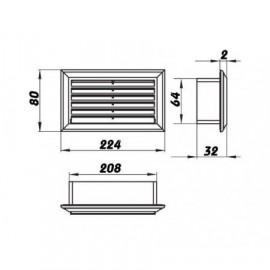 Vzduchotechnická mřížka pro ploché potrubí 204x60 mm Nerez