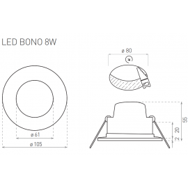 LED bodovka BONO-R chrom 11cm, 8W, 580lm, 4000K, IP65