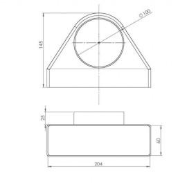 Redukce 90° z Ø100mm na potrubí čtyřhranné 204x60mm