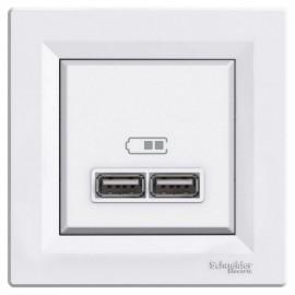 Zásuvka Asfora 2 x USB nabíječka, bílá