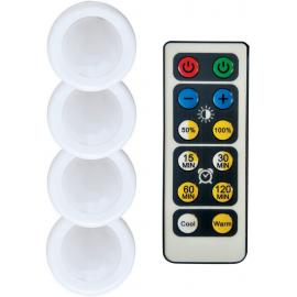 Stmívatelná bateriová LED světélka s ovladačem CCT - SET 4ks