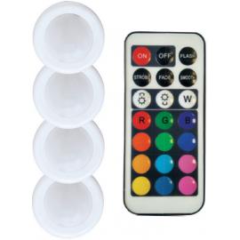 Stmívatelná bateriová LED světélka s ovladačem RGB - set 4ks