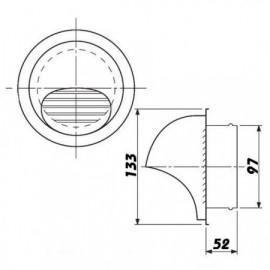 Větrací mřížka nerezová kruhová SUVLA 100