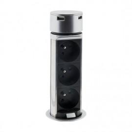 Solight výsuvný blok zásuvek, 3 x 230V+2 x USB