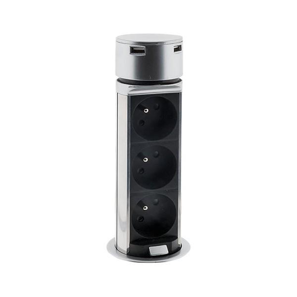 Solight výsuvný blok zásuvek PP125, 3 x 230V+2 x USB