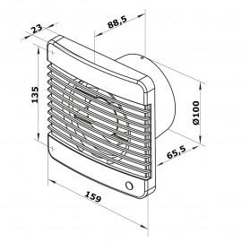 Ventilátor Dalap 100 Grace - vyšší tlak, časovač s čidlem pohybu