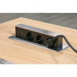Solight výsuvný blok zásuvek PP126, 3 x 230V+2 x USB