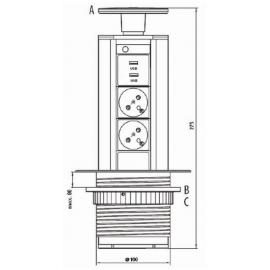 Výsuvné elektrické zásuvky FKZS2A2USBN, 2 x 230V + 2 x USB