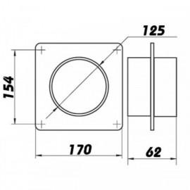Montážní rámeček  pro Ø125mm + spojka