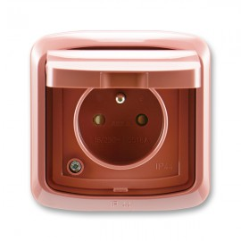 Venkovní zásuvka s víčkem IP44 TANGO 5518A-2999 R2 vřesově červená ABB