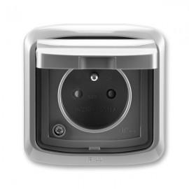Venkovní zásuvka s víčkem IP44 TANGO 5518A-2999 S2 kouřově šedá ABB