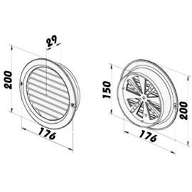 PVC mřížka s přírubou a mechanicky ovládanou žaluzií - Ø 150 mm, hnědá