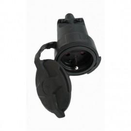 Přímá zásuvka gumová P79 do vlhka a prachu, IP65, černá
