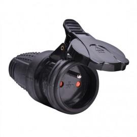 Gumová zásuvka na kabel 230V P77 do vlhka, IP44 černá