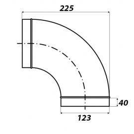 Koleno kovové 90 stupňů - průměr 125 mm