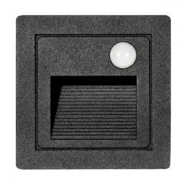 LED vestavné svítidlo s čidlem STEP 2 85×85mm, 3W, IP54 černá matná