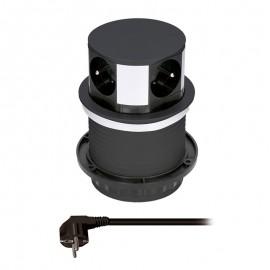 Solight výsuvná zásuvka 4 zásuvky černá