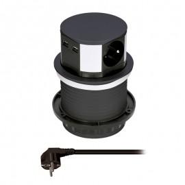 Solight výsuvná zásuvka 3 zásuvky, 2 x USB černá