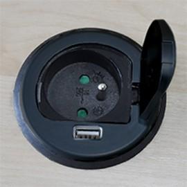 Solight USB PP122-B vestavná zásuvka s víčkem černá, 1x zásuvka a 1x USB
