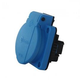 Vestavná zásuvka s víčkem 230V, IP54 modrá