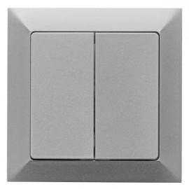 Vypínač Opus premium č. 5 sériový - lustrový - kompletní, stříbrný