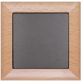 Vypínač Opus premium č. 6 - kompletní, buk-grafit - dřevěný rámeček