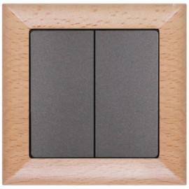 Vypínač Opus premium č. 5 - kompletní, buk-grafit - dřevěný rámeček