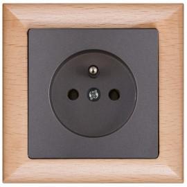 Zásuvka Opus premium kompletní, buk-grafit - dřevěný rámeček