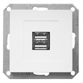 Zásuvka OPUS premium 2xUSB s podsvícením bílá
