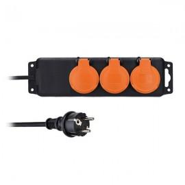 Solight prodlužovací přívod PP324, IP44, 3 zásuvky, černý, 10m