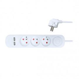 Prodlužovací přívod s vypínačem, 3x zásuvky, 2x USB 2.4A, 2m