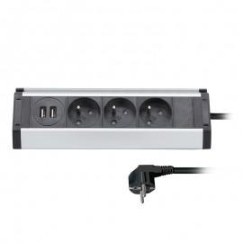 Zásuvková lišta 3x230V+2xUSB , hliník, rohový design