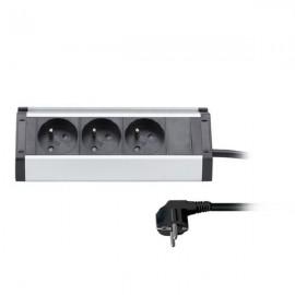 Zásuvková lišta 3x230V, hliník, rohový design