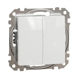 Vypínač SEDNA Design č.5B dvojitý střídavý, řazení 6+6, bílá lesklá