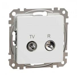 Zásuvka SEDNA Design TV+R koncová, bílá lesklá
