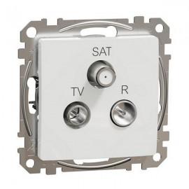 Zásuvka SEDNA Design TV+R+SAT koncová, bílá lesklá