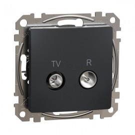 Zásuvka SEDNA Design TV+R koncová, antracit matná
