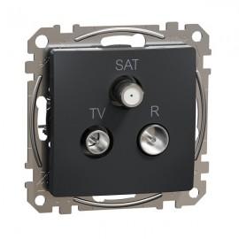 Zásuvka SEDNA Design TV+R+SAT koncová, antracit matná