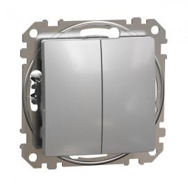 Vypínač SEDNA Design č.5B dvojitý střídavý, řazení 6+6, aluminium