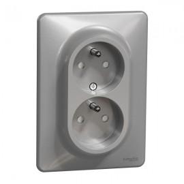 Dvojzásuvka SEDNA Design aluminium