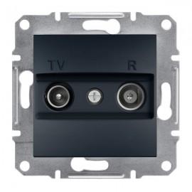 Zásuvka TV+R Asfora koncová, antracit