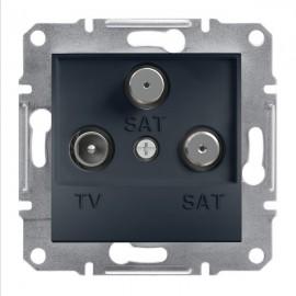 Zásuvka TV+SAT+SAT Asfora koncová, antracit