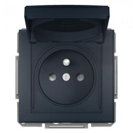 Zásuvka s krytkou Asfora IP44, antracit