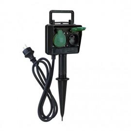 Zahradní sloupek IP44, 2 zásuvky a časový spínač, gumový kabel 1,5m