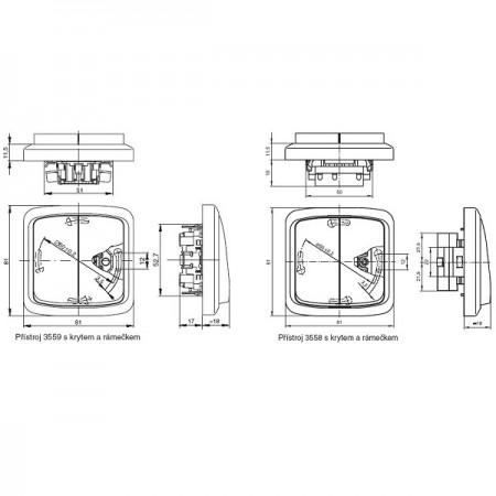 Vestavný kolébkový přepínač černý 19x13mm