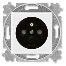 Zásuvka ABB LEVIT s clonkami bílá / kouřová černá