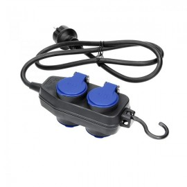 Prodlužovací přívod 4 zásuvky 3x1,5 mm2, IP44, černý, 5m